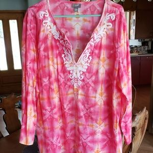 J. Jill cotton tie dyed Indian blouse size 2X